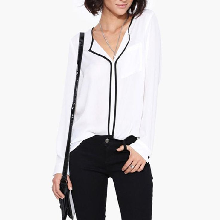 Fashion New Women Chiffon Shirt Base Shirt Casual White Long Sleeve Black Side Chiffon Blouse Shirt Work Wear