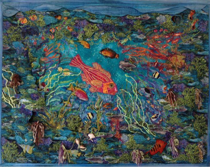 """Judith Mckinlay - Art quilt """"deep treasurers"""" size 1 meter x 1 meter 3D art quilt by Judith"""