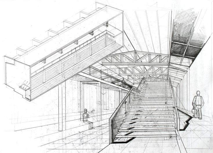 Interior perspective architectural drawing arch student for Paper for architectural drawings