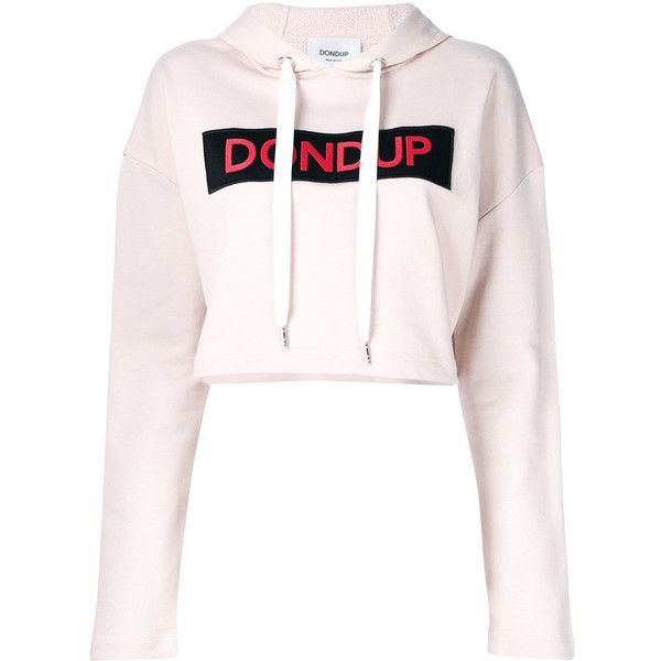 11b40d25b8291 Dondup cropped logo print hoodie ( 194) ❤ liked on Polyvore featuring tops