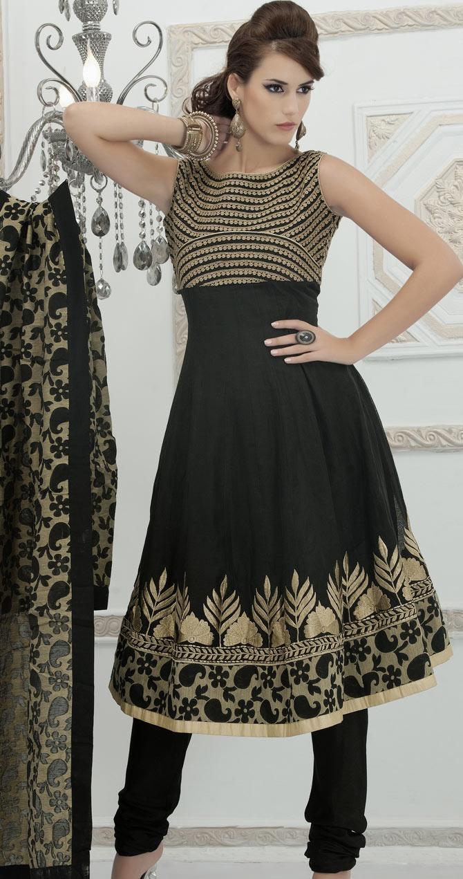 #Black Faux Georgette #Churidar Anarkali #Suit with Dupatta  | @ $124.04