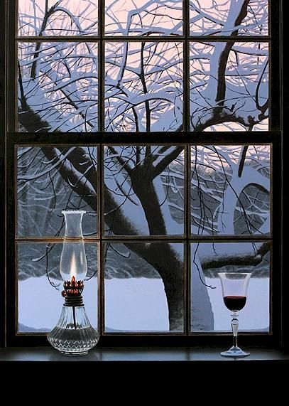 It's cold outside! Lantern Light on the window sill