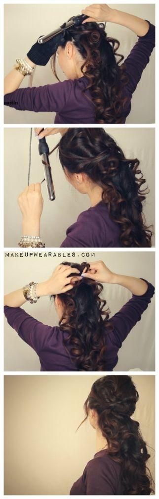 curly ponytail updo video tutorials cute hair style for medium long hair Easy…