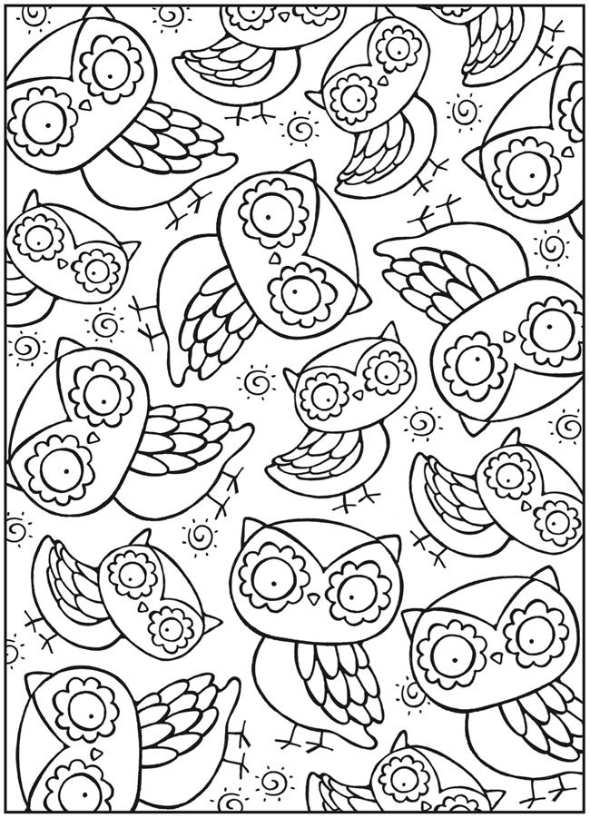 coutheres got to be a cute way to use these as decoupage owl color page from dover publications - Cute Owl Printable Coloring Pages