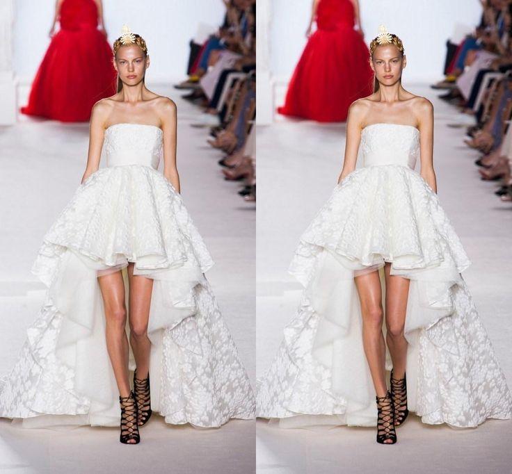 Vintage Wedding Dresses Chicago: Vintage Strapless Neck White Hi Lo Lace Bridal Gown