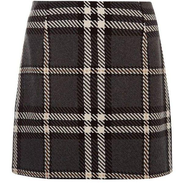 Grey Oversized Check Skirt ($30) ❤ liked on Polyvore featuring skirts, grey skirt, crop skirt, gray skirt, grey mini skirt and checkered skirt