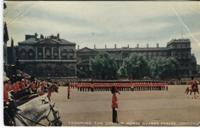 Valentines Postcard - Trooping the Colour, Horse Guards Parade, London T8 c1956