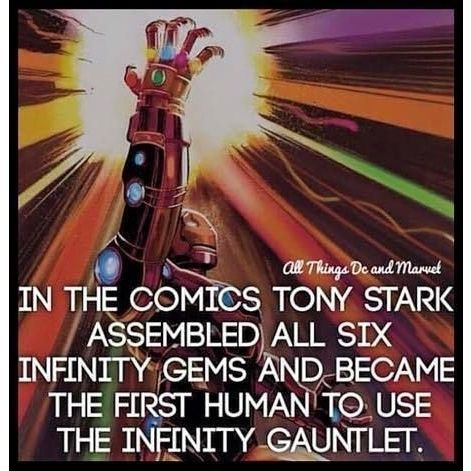 In the #comics #TonyStark Assembled all six infinity Gems and became the first human to us the #infinitygauntlet  Follow me for more great facts and fun geek content Get your Geek on!  #iornman #tonystark #comic #teamironman #teamstark #nebriated #geek #geekygirl #geekychic #geeks #nerdygirl #nerdychic #superheroencyclopedia by superheroencyclopedia.com
