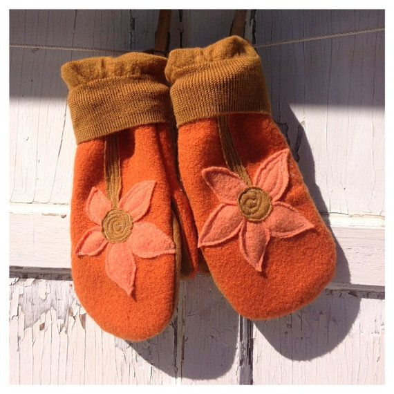Upcycled Felted Wool Mittens- Garden Blooms in Orange