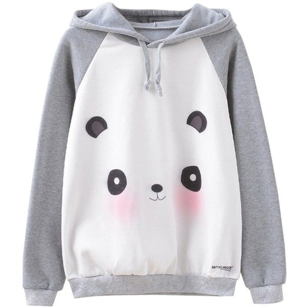 Futurino Women's Panda Face Animal Graphic Sweatshirt Warm Pullover... (£12) ❤ liked on Polyvore featuring tops, hoodies, hoodie pullover, hooded pullover sweatshirt, animal print hoodie, pullover hoodies and hoodies pullover