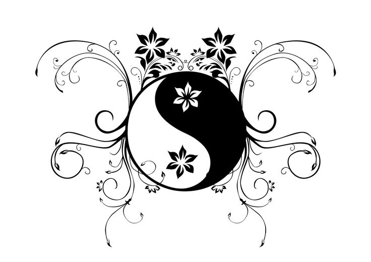 93 best yin yang images on pinterest colouring pages for Ying yang coloring pages