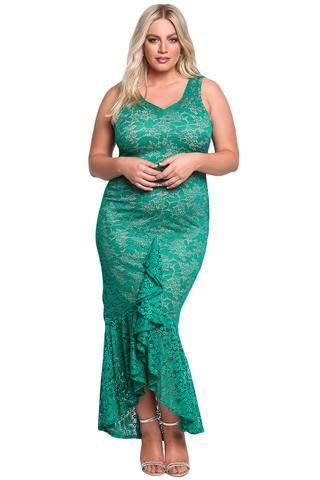 Chicloth Emerald Plus Size Floral Lace Ruffle Mermaid Maxi Gown