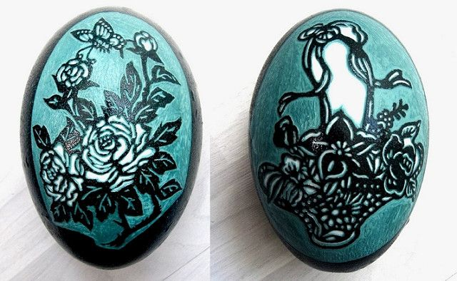 Carved emu egg-Both sides of sculpture,Peony and bouquets