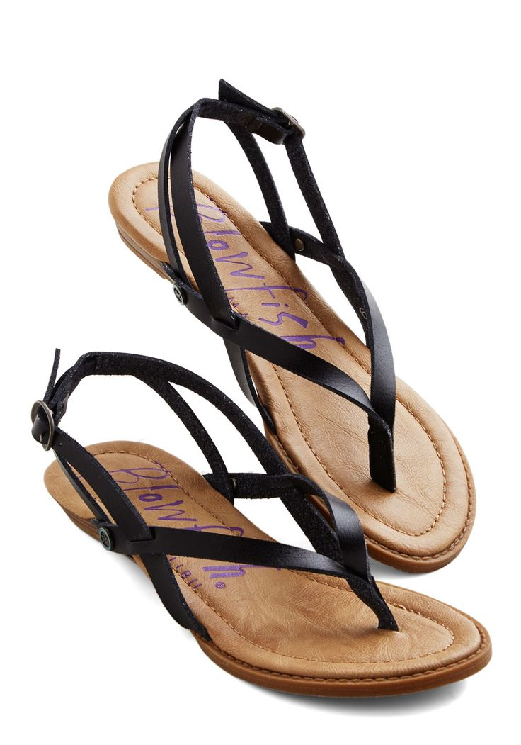 Camp Hardly Wait Sandal in Black (also knows as Berg on the Blowfish website). Stepping into these black sandals by Blowfish, you welcome the urge to immediately invite your friends over for a night spent around the campfire!