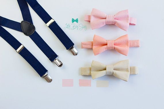Navy Suspenders with a Bow tie of your choice: Nude, Peach or Blush   A great set for groomsman, best man or ring bearers! We can custom make any