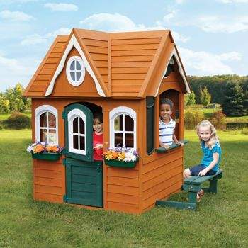 This is the Costco playhouse that the girls want and the dimensions I plan to use...with square windows.: Cottage, Georgian Manor, Cedar Playhouse, Plays, Kids, Manor Cedar, Outdoor Playhouses, Wooden Playhouse, Play Houses