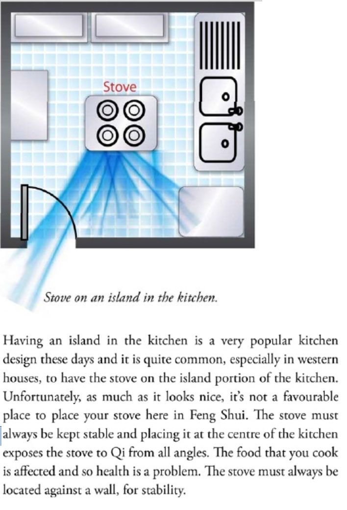 A stove in the centre island of a kitchen is inauspicious and should be avoided when