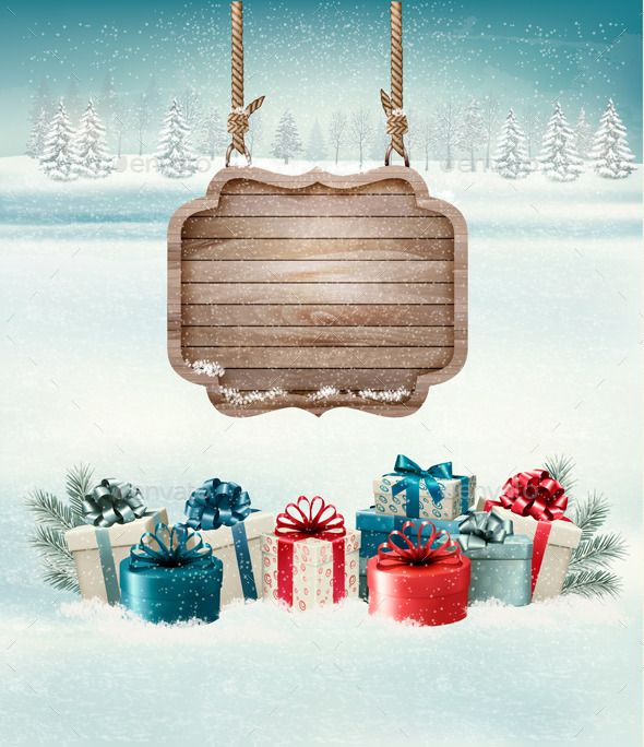 Christmas Background with a Retro Wooden Sign Vector EPS #design Download: http://graphicriver.net/item/christmas-background-with-a-retro-wooden-sign/9894685?ref=ksioks