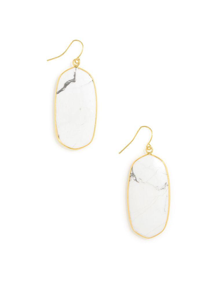 Marble Petal Drop earrings - White Marble
