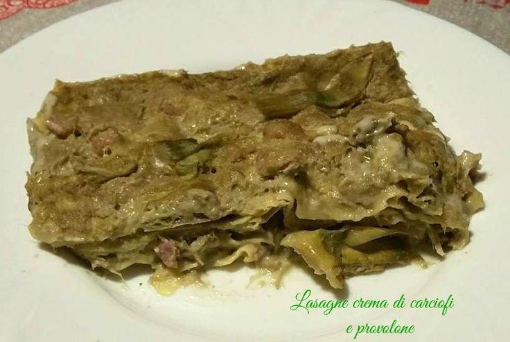 Lasagne+con+crema+di+carciofi+e+provolone