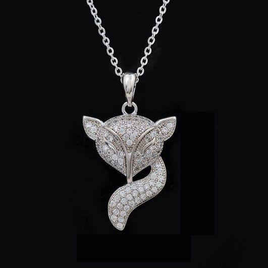 Elegant And Cute Gemstone Inlaid Fox Pendant Woman's Necklace - USD $68.95