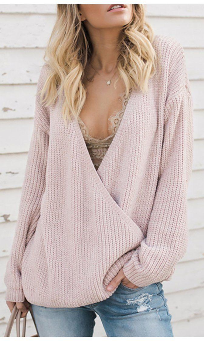 beige backless Sweater women/'s boho  v.neck loose knit top
