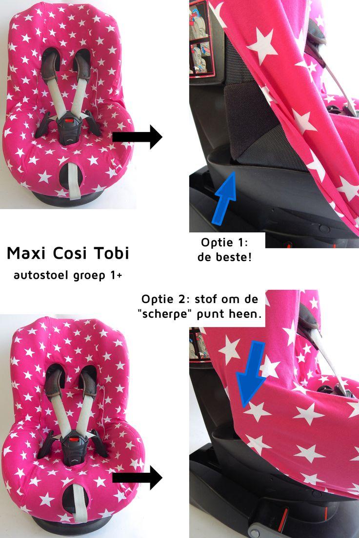 MAXI COSI TOBI. de hoofdsteun zit onder de hoes en kan je verstellen. Op de foto zit de hoofdsteun in de middenstand.
