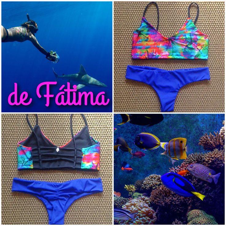 Bikini Tiritas psicodélico Azul