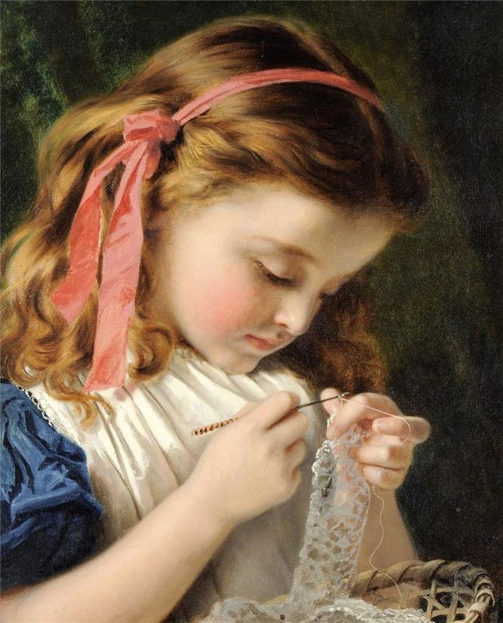 Девушка которая вышивает картина