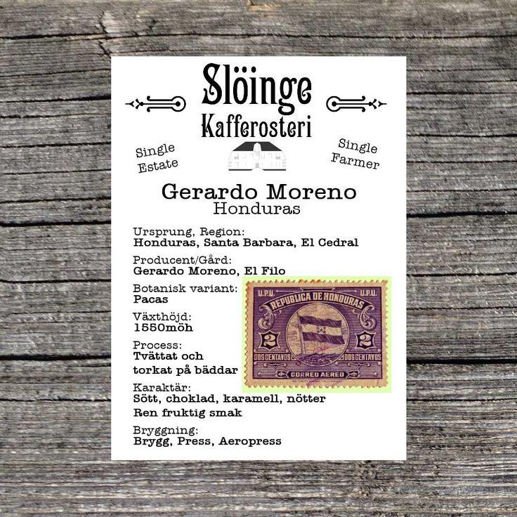Slöinge kafferosteri - Gerardo Moreno - Honduras - Ljusrostade kaffebönor - 250gr