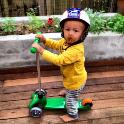 """Banjo Wilkinson scored this Mini Micro Scooter for his second birthday. Mum says Banjo loves to ride up and down his street with all his friends """"feeling happy and free!""""  http://www.entropy.com.au/manufacturers/Microscooters/microscooters-mini-micro-green-3854.php"""