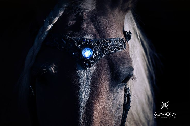 Enchanted magical elven glow in the dark browband, bridle, horse jewelry, silver roses, polymer clay, fimo