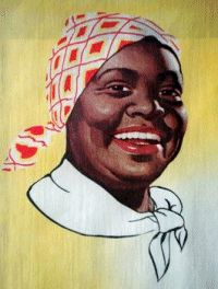 R.T. Davis Milling Co. hired freed slave, Nancy Green [born in Montgomery County, KY] to 'be' Aunt Jemima®, in 1890. Nancy was made to play Aunt Jemima® as a stereotypical, antebellum plantation 'mammy', being subservient, overweight and dressed in typical slave attire, with a red bandana headscarf. She made her debut at the World's Columbian Exposition in Chicago and soon became known as the 'Pancake Queen.' Her likeness became the new logo. until her untimely death in 1923.