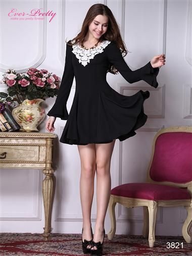 Long Sleeve Crocheted Neckline Full Skirt Black Casual Dress - Ever-Pretty US