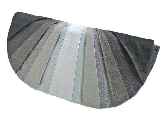Grayscale Monochromatic Pleated Silk Clutch Purse by jesswitaj, $60.00