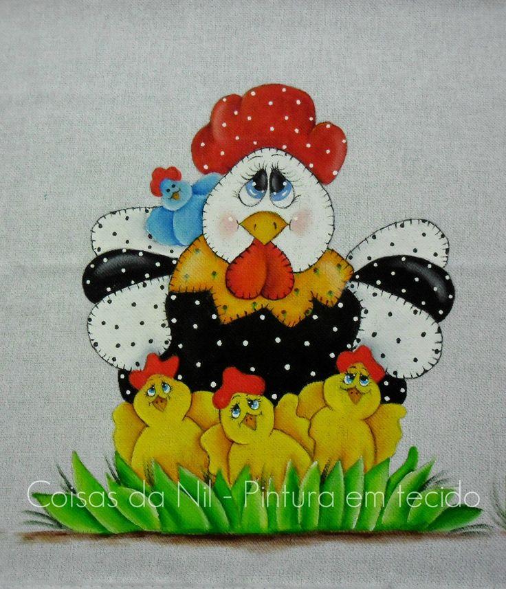 pintura de galinha com pintinhos estilo country para o dia das maes
