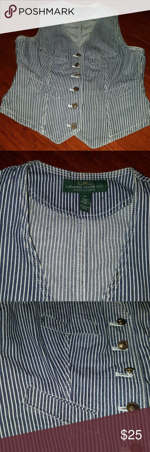 GOOD condition strip jean vest by Ralp lauren Blue & white demin jean vest Ralph Lauren Jackets & Coats Vests