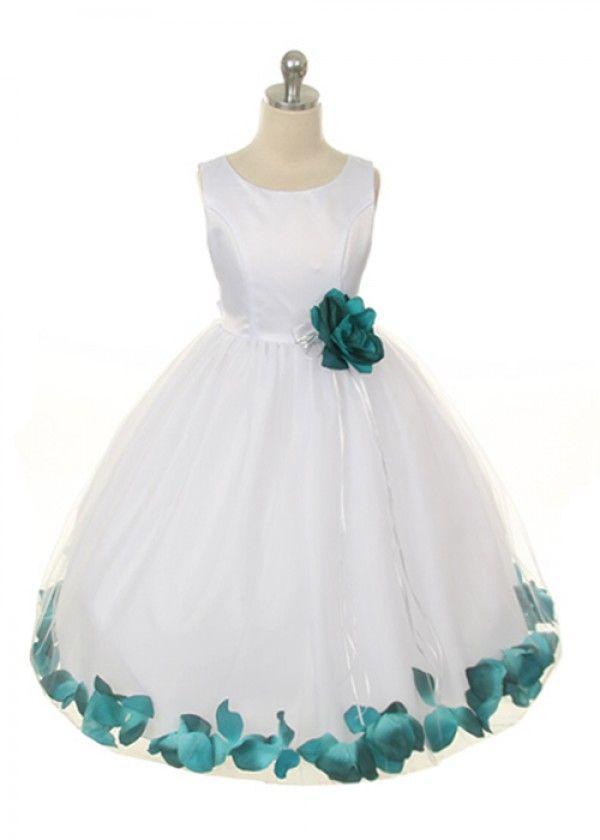 Teal Blue Flower Petal Girl Dress
