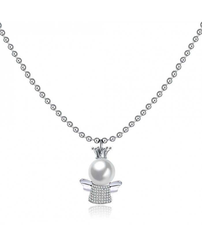 Ouruora Baby With Crown and Crystal Pendant Necklace