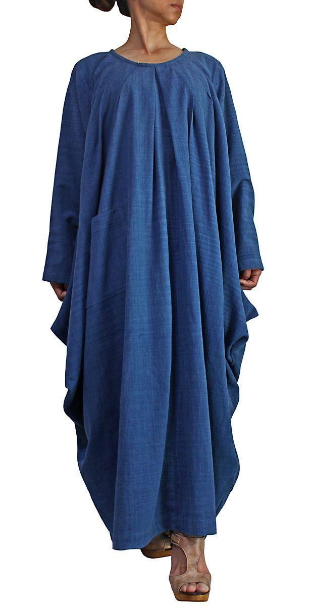 ジョムトン手織り綿のマルチドレープゆったりドレス