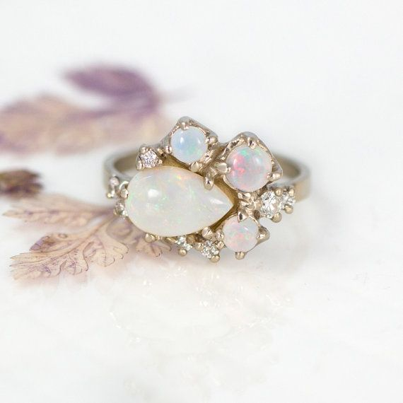 Opal Cluster Ring Gold with Diamonds // A by MelanieCaseyJewelry. breathtaking! this is my absolute favorite