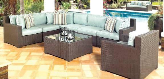 Green Wicker outdoor furniture