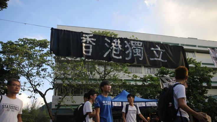 9/5/17 More banners calling for Hong Kong independence appear on Chinese University campus  At least three large black banners were taken down on first day of school year on Monday – but stunt was repeated on Tuesday morning at different location  The university warned any advocacy of independence would be a breach of the Basic Law, which states that Hong Kong is an inalienable part of China