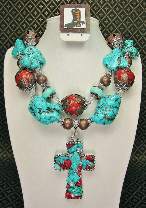 turquoise coral chunky western cowgirl necklace with
