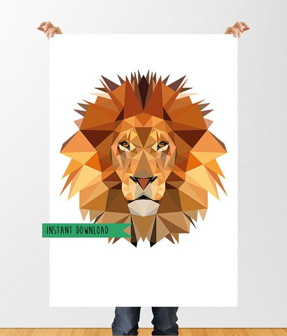 Low Poly Lion Printable Art Lion Print Geometric by tothewoodside