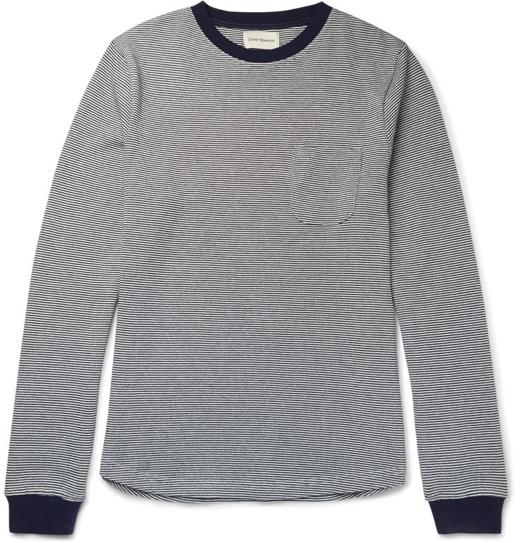 This lightweight <a href='http://www.mrporter.com/mens/Designers/Oliver_Spencer'>Oliver Spencer</a> sweater can be worn on its own, over a T-shirt or under a jacket, depending on the weather. The soft cotton design is knitted with narrow stripes of navy and off-white - a faultless choice that suits everyone. Try dark chinos and Derby shoes to complete a laid-back look.