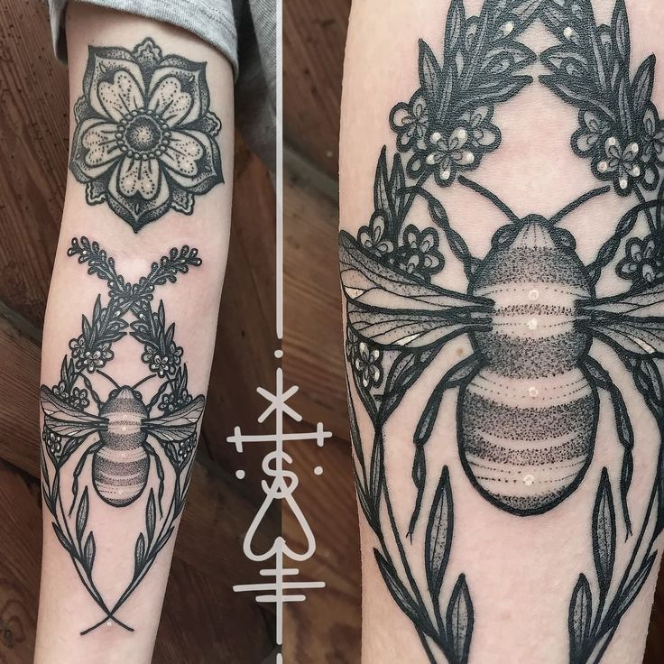 Inspirational diana stopped by and we added a bumble bee with lavender to her arm the