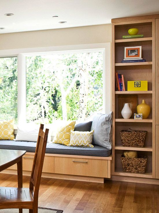 Pullout drawer storage is hidden beneath this long window seat.: Big Window, Dining Rooms, Window Benches, Living Rooms, Houses Ideas, Built In Storage, Bookca, Window Seats, Bays Window