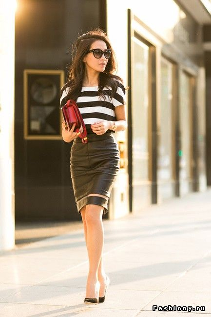 Образы с кожаной юбкой / коричневая кожаная юбка картинки