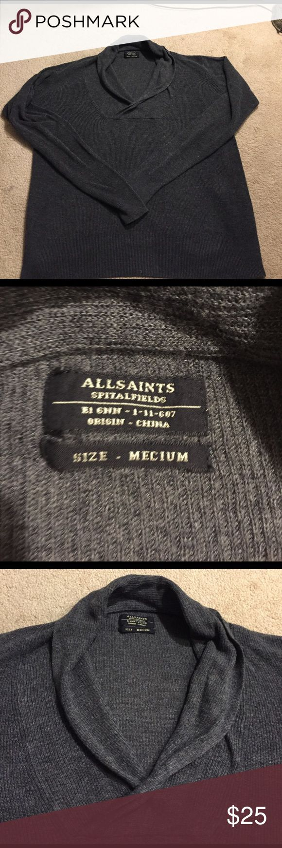 All Saints Men's Sweater Size Medium Black, men's All Saints sweater. Sweater shows off definition in arms/biceps. Sweaters V-Neck